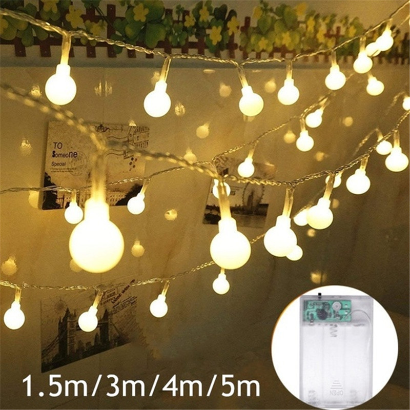 1.5M/3M/4M/5M Mini Plastic Ball Bulb Lamp Fairy String Lights Battery Wedding Valentines Xmas Party Indoor Outdoor Garden Décor
