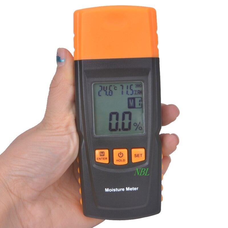 Feuchtigkeit Meter Humor Marke Handheld Digital Holzfeuchte-messgerät Data Hold Messen In 4 Baumarten Luftfeuchtigkeit Tester Damp Detector Hygrometer