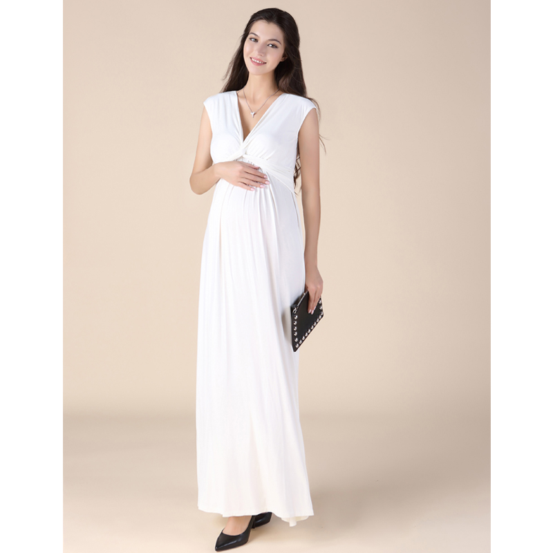 New Summer V-Neck Maternity Dress Pregnancy Clothes Long Women Evening Party Vestidos Gowns Noble Maternity photography Props женское платье women dress 2015 v vestidos vestidos