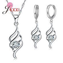 Big Discount Women Fashion Design Pendant Earrings Necklace 925 Serling Silver Shinning Crystal Jewelry Sets Wholesale(China)