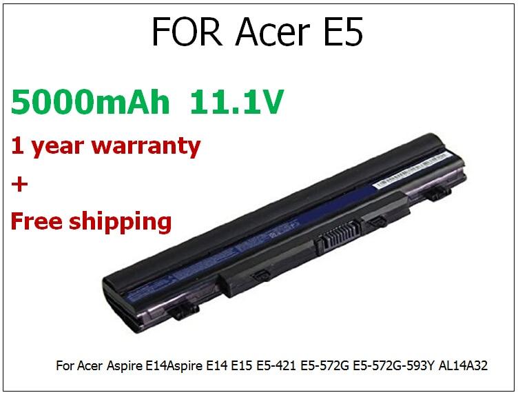 ФОТО 5000mAh 11.1V Battery For Acer Aspire E14Aspire E14 E15 E5-421 E5-572G E5-572G-593Y AL14A32 6 Cell