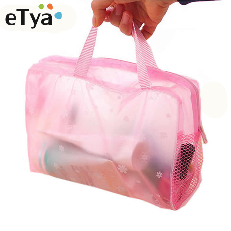 ETya 5 Colors Make Up Organizer Bag Toiletry Bathing Storage Bag Women Waterproof Transparent Floral PVC Travel Cosmetic Bag(China)