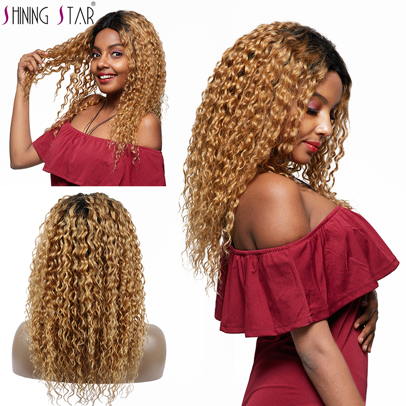 Shining Star Ombre Blonde Lace Front Human Hair Wigs Pre Plucked Peruvian Water Wave Lace Front