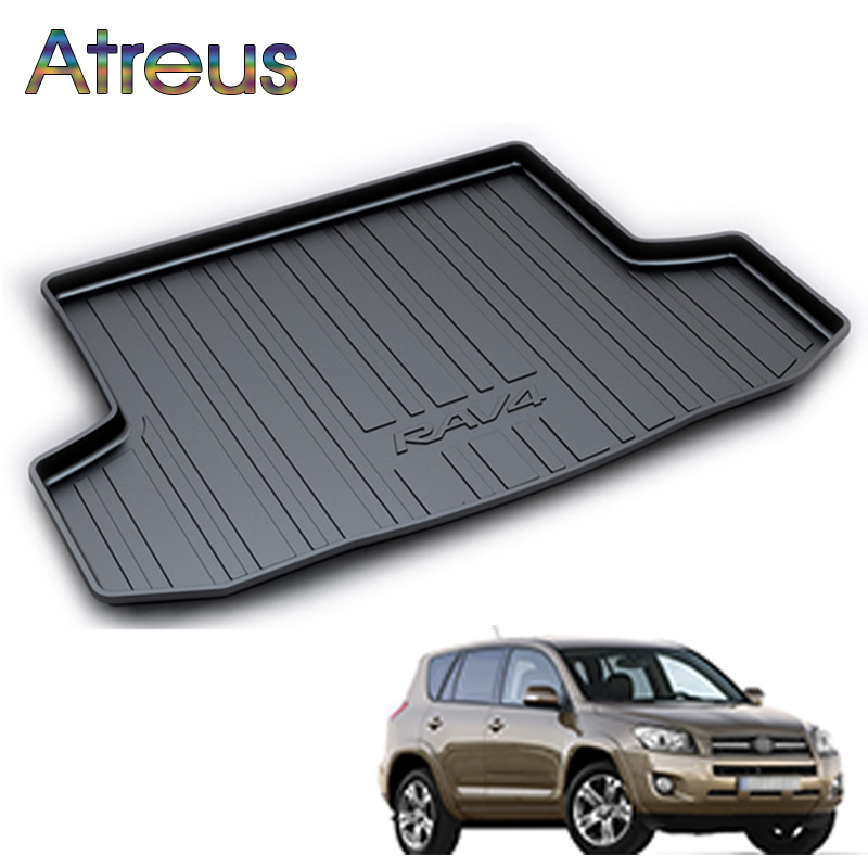 Atreus Car Rear Trunk Floor Mat Durable Carpet For Toyota RAV4 2009 2010 2011 2012 Boot Liner Tray Waterproof Anti-slip mat atreus car rear trunk floor mat durable carpet for toyota corolla e140 e150 2007 2013 boot liner tray waterproof anti slip mat