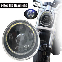 Motorcycle Headlight with Ring DRL Daytime Running for V rod Motorcycle VROD VRSCA Headlight VRSC/V ROD Led Headlight