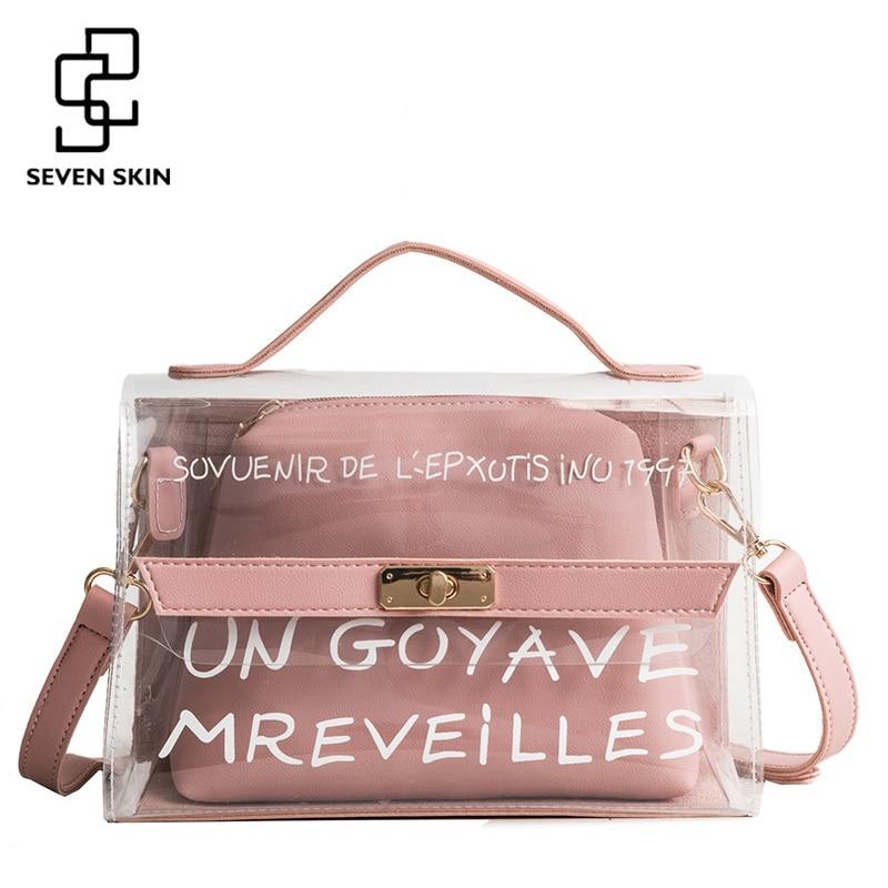 SEVEN SKIN Brand New Women PVC Transparent Shoulder Bag Letter Designer Ladies Messenger Bags Luxury Straps Handbags Bolso Mujer
