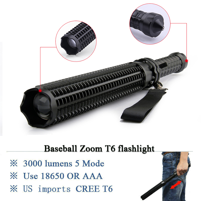 High quality Zoom self defense LED flashlight 18650 OR AAA battery rechargeable T6 3800 lumen telescopic baton LED Torch lantern high quality led flashlight zoom cree xml t6 l2 penlight rechargeable led lanterns lamp waterproof torch 18650 or 3x aaa battery