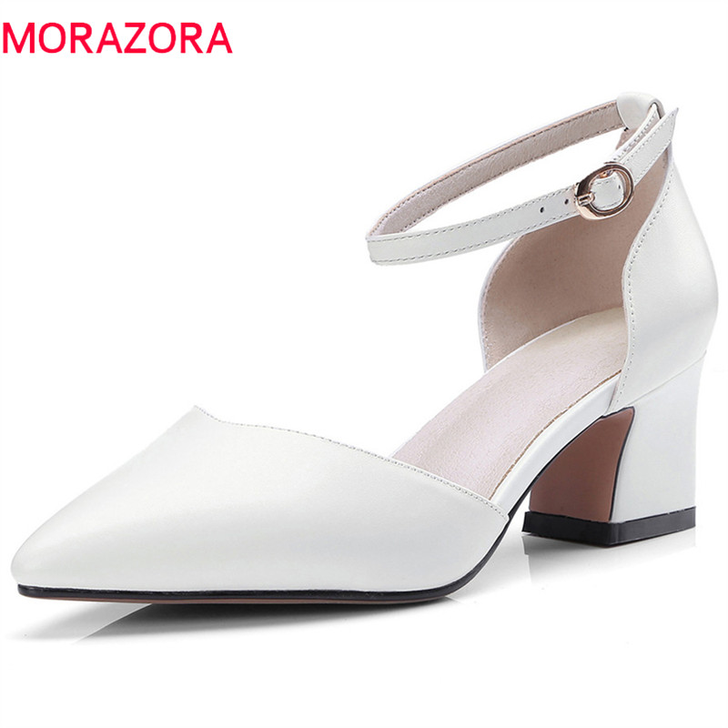 MORAZORA 2020 new style pumps women shoes genuine leather summer shoes pointed toe simple buckle party