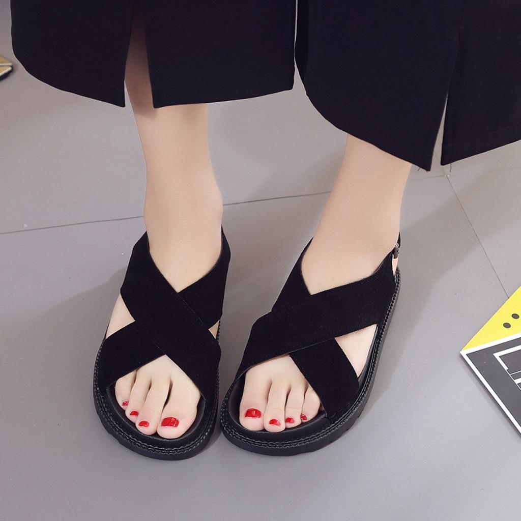 Noir Femmes Bout Loisirs Muffin forme 2019 Chaussures Non Plate Rond Tacon D'été marron Zapatos glissement Sexy Mode Muqgew Sandales Mujer Plat H54pqxw