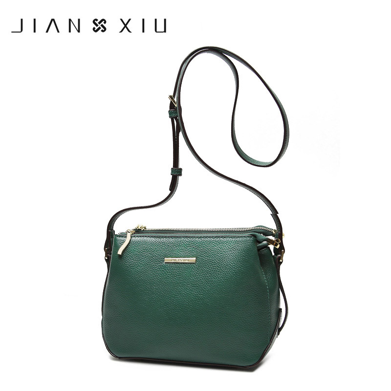 JIANXIU Genuine Leather Bags Designer Bags Famous Brand Women Messenger Bags 2018 Double Zip Compartment Shoulder Crossbody Bag