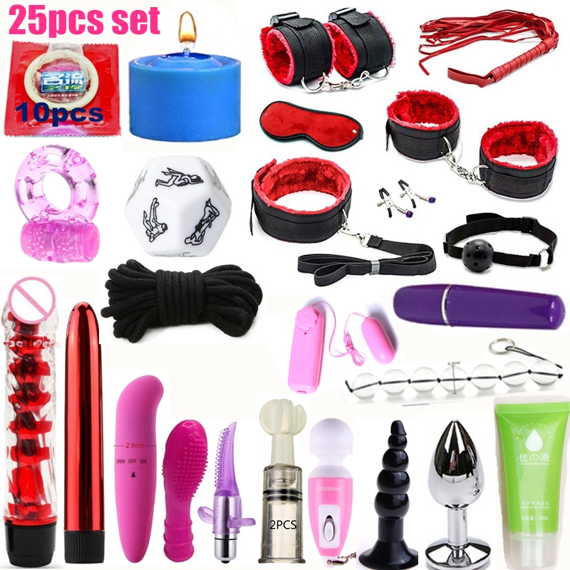 25Pcs Set Sex Toys For Couples Exotic Accessories Nylon BDSM Sex Bondage Set Sexy Lingerie Handcuffs Whip Rope Anal Vibrator