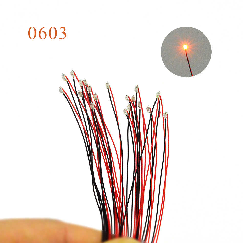 20PCS with 1.5K resistor 0603 SMD model train HO N OO scale Pre-soldered micro litz wired LED leads