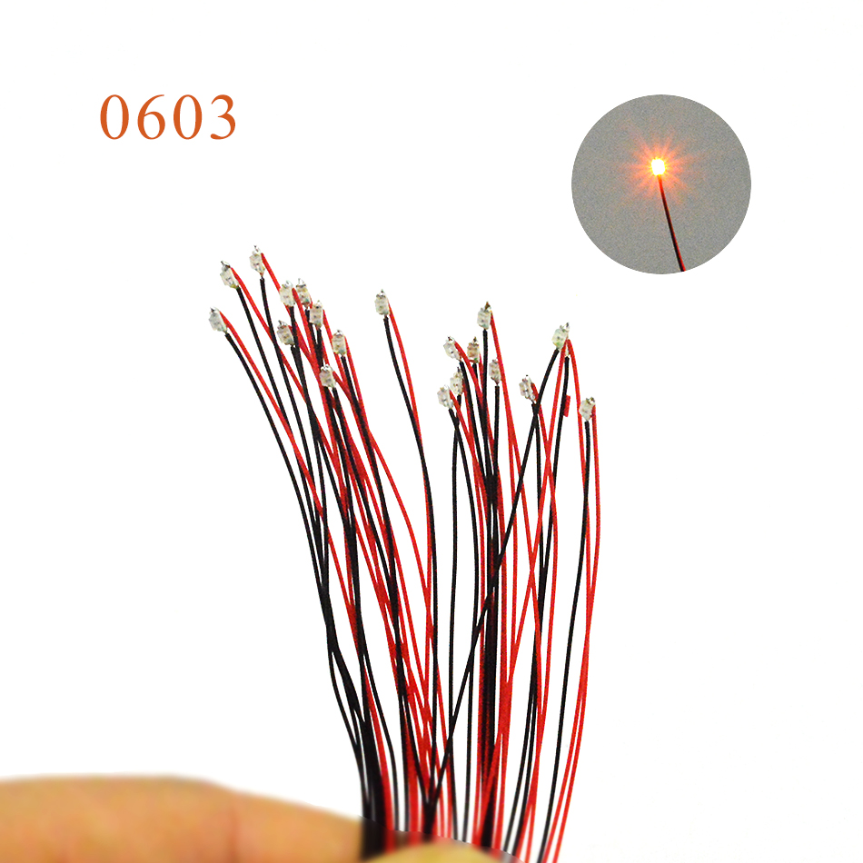 40pcs 0603 SMD Model Train HO N OO Scale Pre-soldered Micro Litz Wired LED Leads With 1.5K Resistor