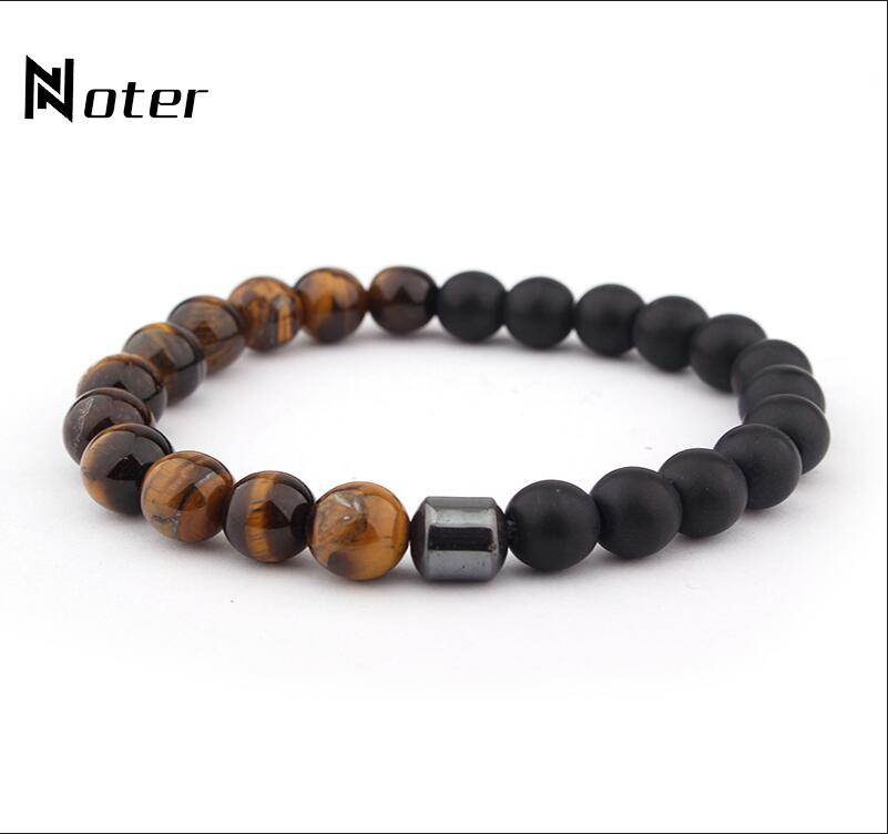 Minimalist 2 colors Natural Stone Bracelet Charm Yoga Meditation Buddha Braslet For Men Jewelry Accessories Armband Heren Homme