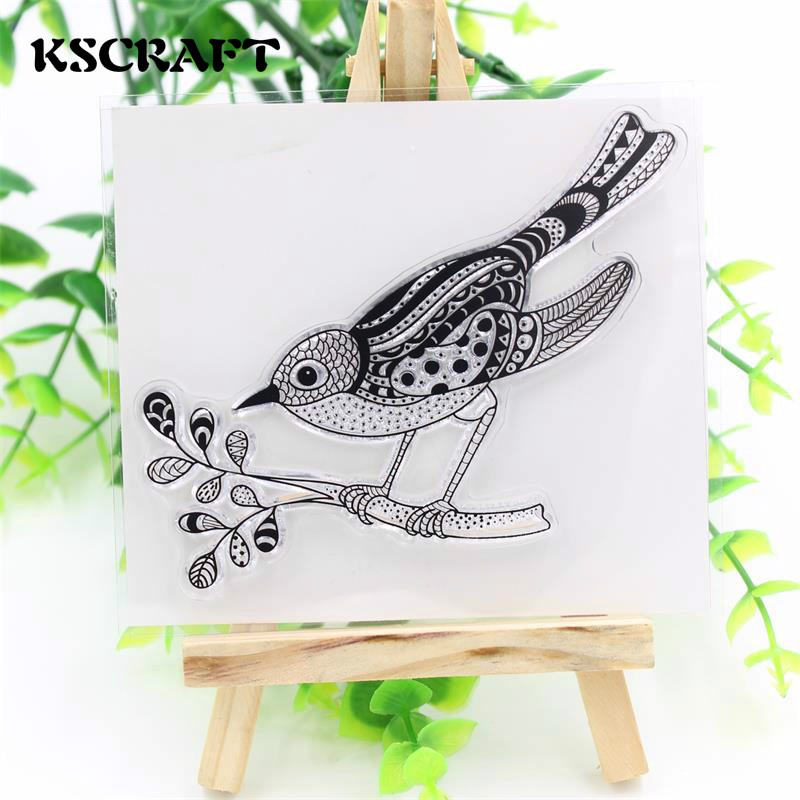 KSCRAFT Bird and Branch Clear Silicone Stamp for DIY scrapbooking/photo album Decorative craft lovely animals and ballon design transparent clear silicone stamp for diy scrapbooking photo album clear stamp cl 278