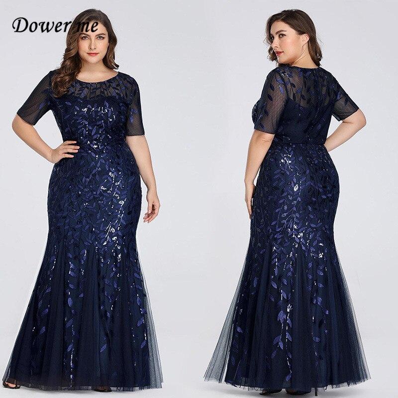Dower Me Plus Size Mermaid Dress 2019 Floor Length Long Dresses Summer Slim Short Sleeve Sequins Dresses Vestidos de fiesta C310