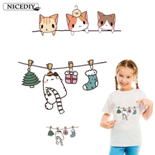 Nicediy Naughty kitten Cat Patches Heat Transfer Vinyl Sticker Iron On Transfers For Clothes T-shirt Washable Applique Badge DIY цена