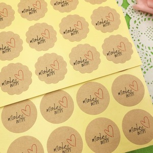 Image 2 - 100 pcs 3cm  made with Red Heart Kraft Sticker Gift Seal Stickers For Homemade Bakery & Gift Packaging