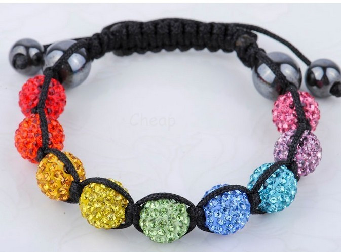Min.$15 Mixed Order+Free Shipping+Gift.rainbow mixed Fasion 10mm micro pave Disco Beads Crystal Women Men Shamballa Bracelet.