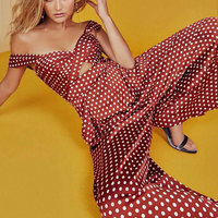 High Quality Jumpsuits for Women 2019 New Arrival Vintage Dots Pattern Women Jumpsuits Rompers Sexy Slim Holiday Playsuits