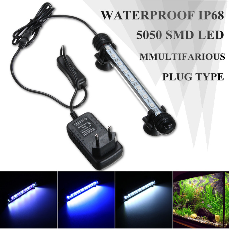 Waterproof IP68 18/28/38/48cm Submersible Aquarium LED 5050 SMD Light Fish Tank Bar Strip Light Lamp US/EU/UK/AU Plug AC110-240V