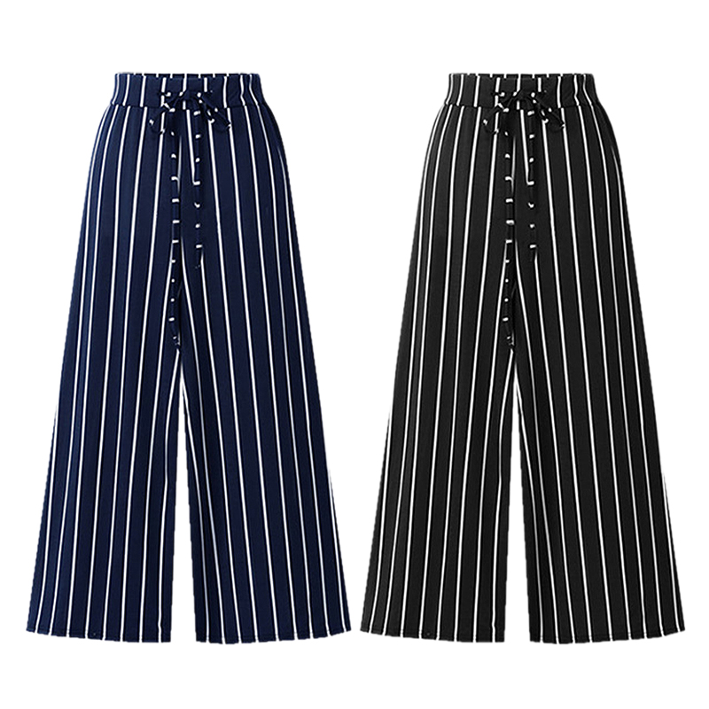 High split stripe wide leg pants women Summer beach high waist trousers Street streetwear sash casual pants capris female