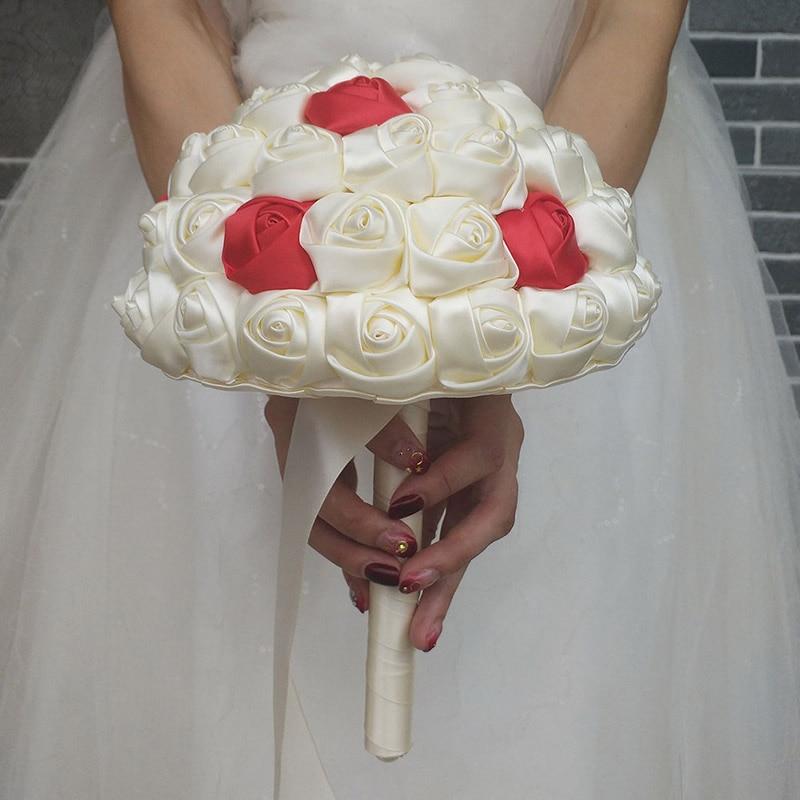 Image 3 - WifeLai A Super Good 100%Handmade Ribbon Flower Wedding Bouquets Bridal Bouquet Ivory Boque noiva Accept your Idea Custom W223 1wedding bouquet bridalbridal bouquetwedding bouquet -