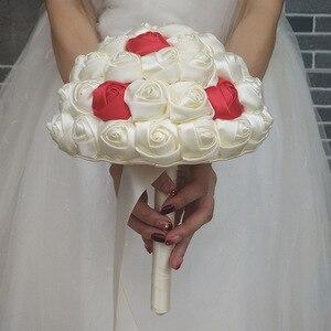Image 3 - Wifelai um super bom 100% buquês de casamento de flores de fita artesanal bouquets de noiva marfim boque noiva aceitar sua idéia personalizado W223 1