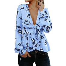 women blouse fashion sexy deep v-neck vintage winter  flower printed female ladies clothing womens top shirt top