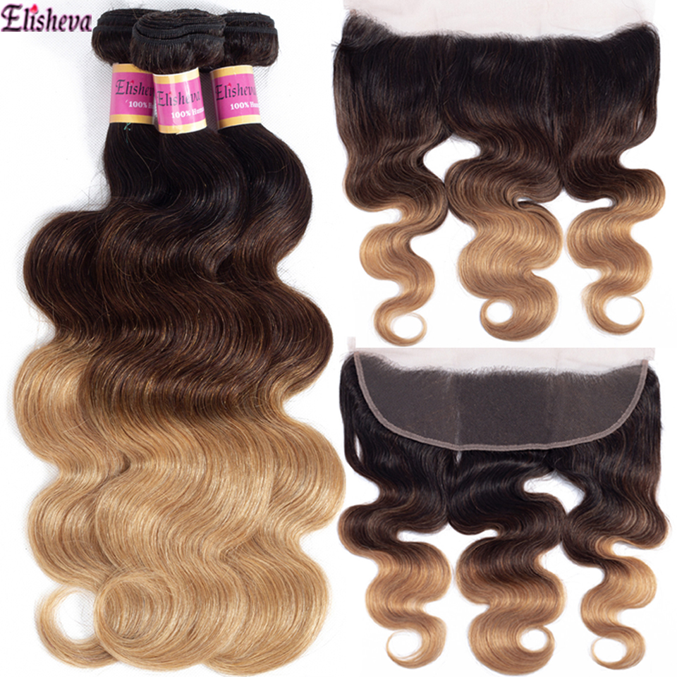 Elisheva Ombre Bundles With Frontal 1b/4/27 Remy Peruvian Dyed Body Wave Honey Blonde 3 Bundles With Closure 13x4 Human Hair
