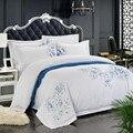 100% algodón blanco bordado juegos de cama 4/6 piezas blanco juego de sábanas de Hotel edredón funda de almohada shams doble rey tamaño de la Reina