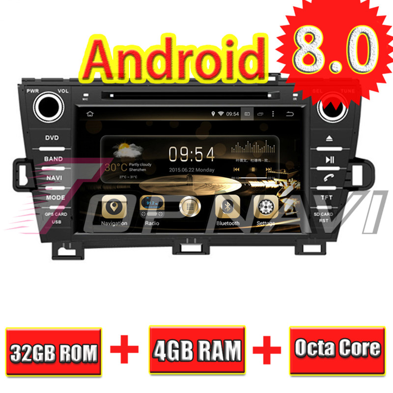 Topnavi 8 ''Octa base Android 8.0 Lecteur DVD de Voiture pour TOYOTA PRIUS 2009-Radio Autoradio GPS Navigation Audio multimédia Stéréo