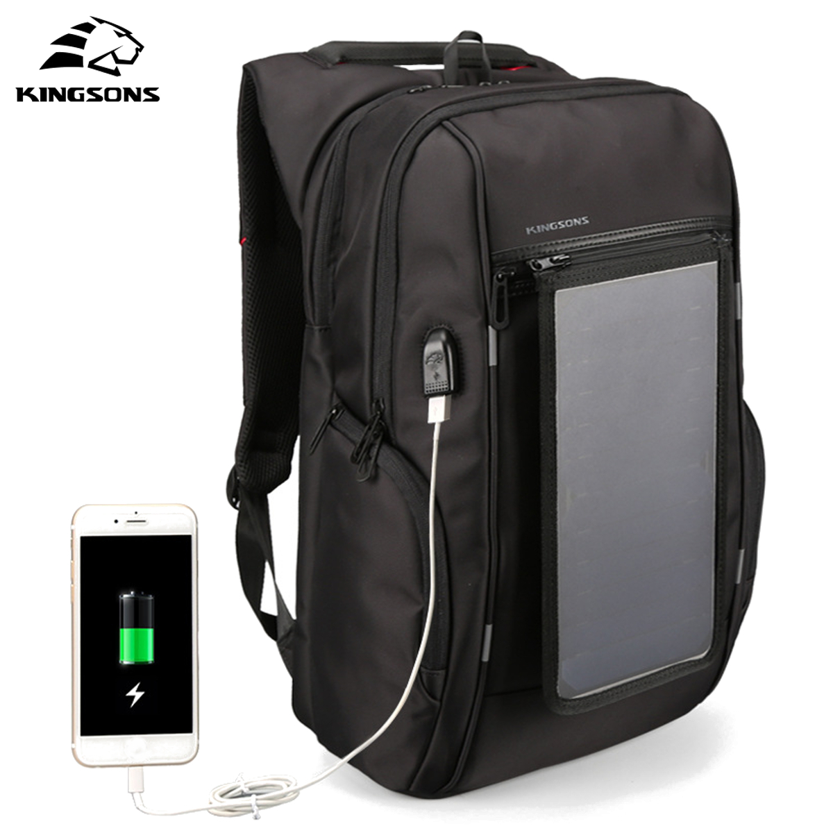 цена KINGSONS Travel 15.6'' Laptop Bag 40W Detachable Solar Panel Backpack USB Charge