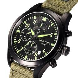 Oryginalny HOLUNS człowiek marka zegarek wielofunkcyjny sport mężczyzna chronografu mody biznes świecenia luksusowe denim zegarki wojskowe