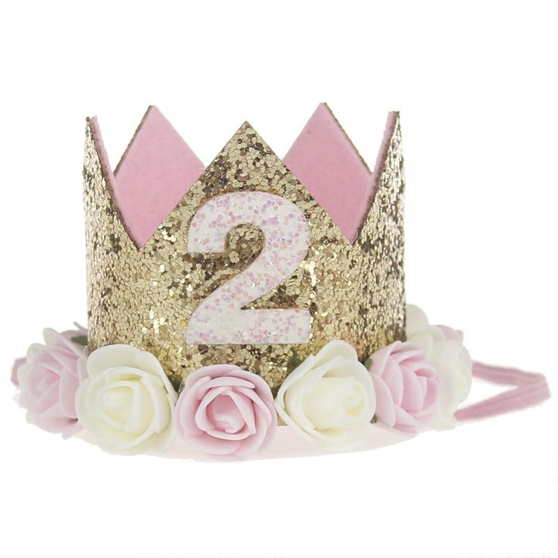 Искусственная нежная мини-фетровая блестящая корона с цветком повязка на голову для дня рождения Сделай Сам одежда для волос декоративные аксессуары - Цвет: Темно-розовый