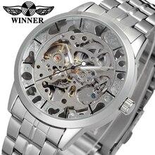 الفائز ساعة رجالي العلامة التجارية حركة أوتوماتيكية شفافة كريستال سوار الفولاذ المقاوم للصدأ ساعة اليد اللون الفضي WRG8003M4S1