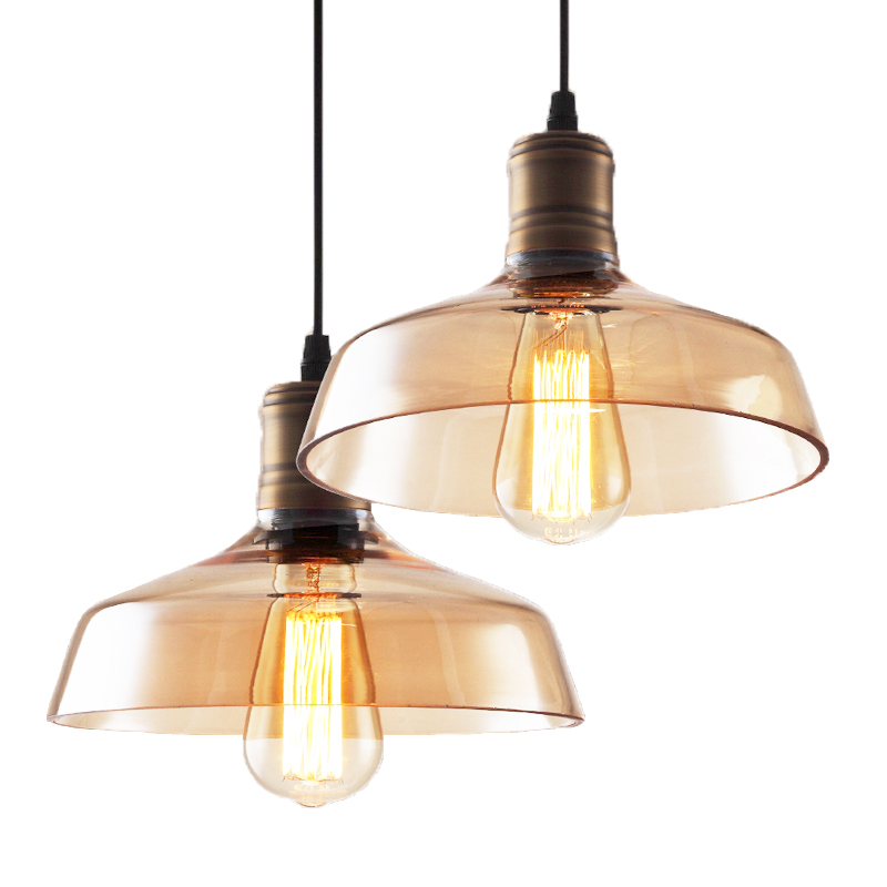 Edison RH Style Loft Industrial Vintage Lamp Pendant Lights With Glass Lampshade Handing Light Lamparas Pendente Colgantes 60w edison vintage pendant lights with metal lampshade retro loft industrial lamp lamparas pendente de techo hanglamp