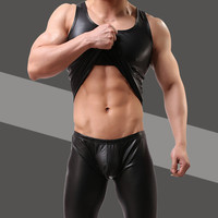 Summer 2016 Black Faux Leather Man Sexy Fitness Bodybuilding Tank Tops Gay Funny Singlets Undershirt Gym