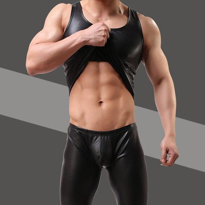 2018 Plus Size M/L/XL/XXL Mens Sexy Vest Faux Leather Black Tank Tops For Male Gay Wear Men's Undershirts Lingerie Tees