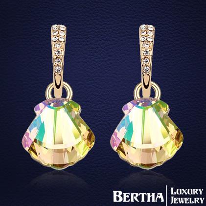 Moda Requintada Cristal Ouro Brincos Gota brincos grandes Para As Mulheres Com Swarovski Elements Romântico Lady Mulheres Brinco