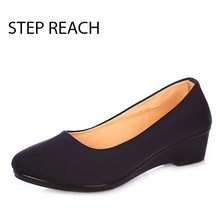 STEPREACH Brand shoes woman Low heels Rubber canvas Round Toe comfortable Solid pumps slip-on Women Ladies Pumps sapato feminino