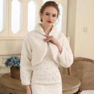 Image 3 - SHAMAI Fur Shawl Wedding Wrap women Winter Long Sleeve Lvory Bridal Jackets Married Outerwear Bride Cape Autumn Winter Jacket