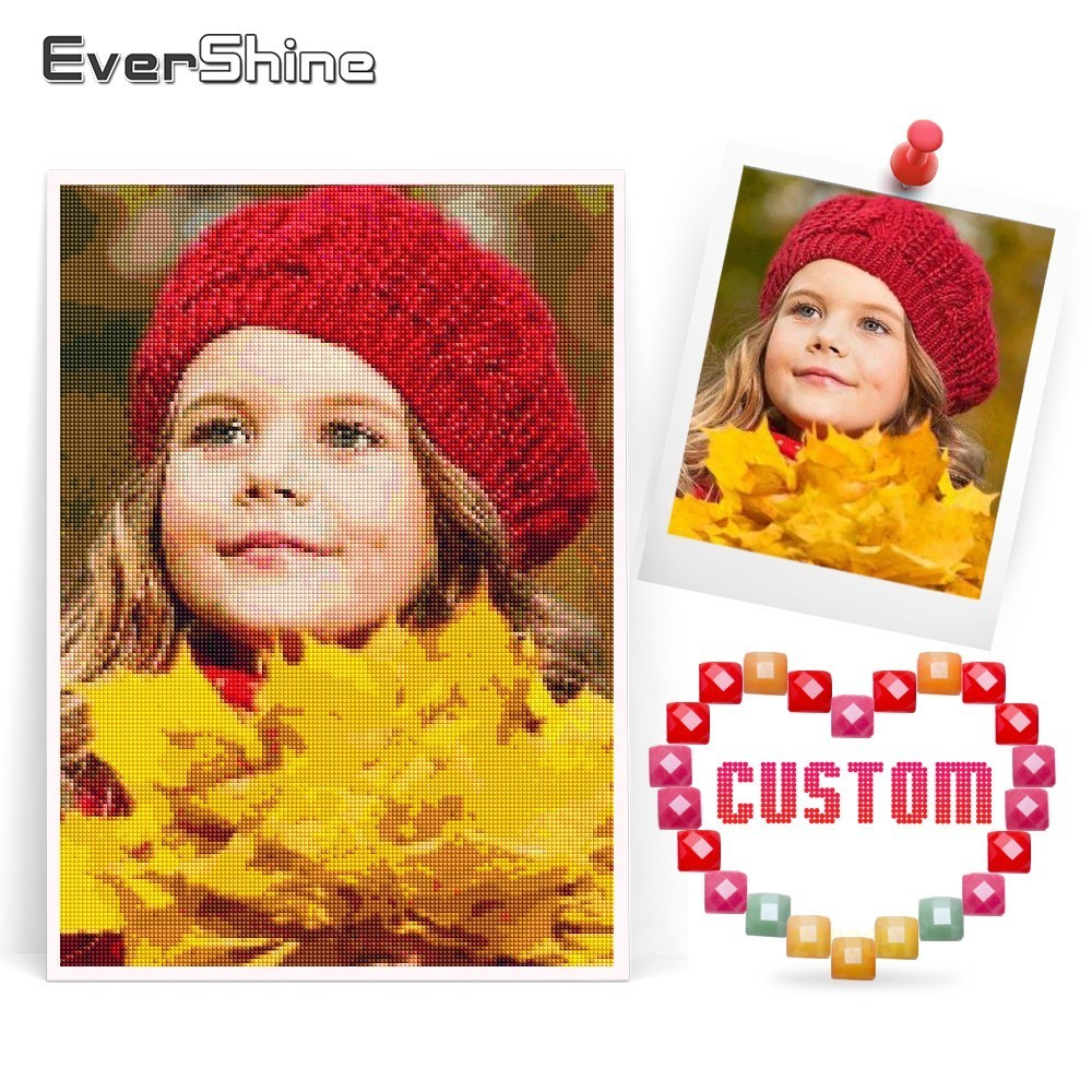 EverShine Photo Custom Diamond Broderi Full Square Sale Diamantmaleri Bilde Rhinestone Perler Diamantmosaikk Hjemmeinnredning