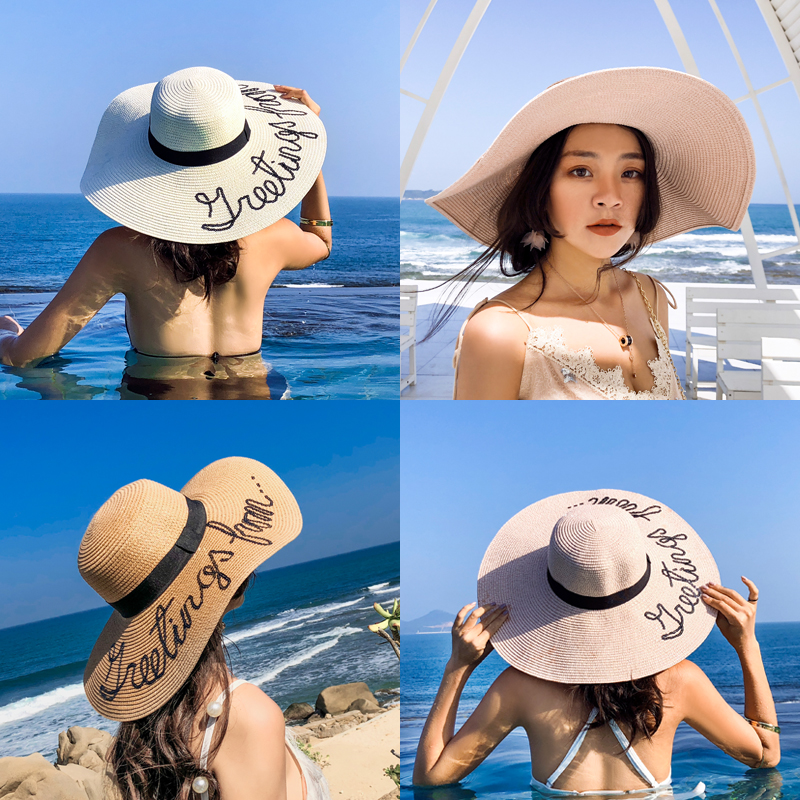 2018 New Lady Hat Casual big hat Big Sea Beach Sunscreen cap Foldable Straw hats Flat Along Sun hat