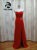 Custom Made Real Photos Red Chiffon High Side Slit Beading Pleated A Line Bridesmaid Dresses Maid Of Honor Gowns