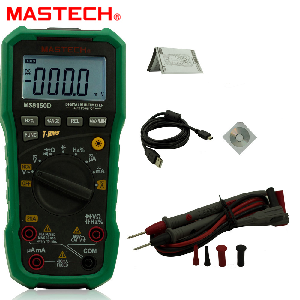 Mastech MS8150D Digital Multimeter Auto Range Ture RMS Handheld Portable Tester Meter Electrical Instrument Diagnostic-tool aimo m320 pocket meter auto range handheld digital multimeter