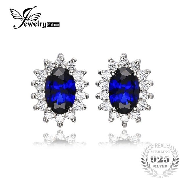 Jewelrypalace princesa diana william kate middleton 1.5ct creado azul zafiro stud pendientes plata de ley 925 aretes de plata pendiente