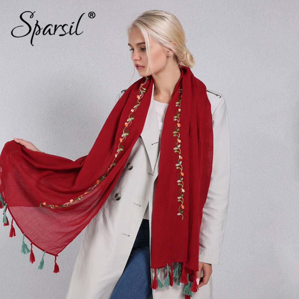 Sparsil Women Dual Tassel Embroidery Scarf Spring Autumn Cotton Linen Oversized Wrap Soft Breathable Scarves Travel Beach Shawl