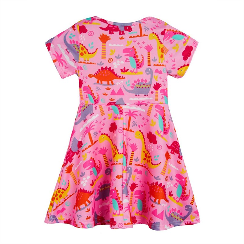 2019 Girls Clothes Children 39 s Dinosaur Print Dress New Milk Silk Beautiful Princess Dress in Dresses from Mother amp Kids