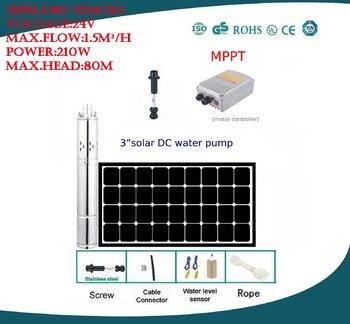 Solar water pump  farm irrigation for deep well MPPT controller bomba de agua solar free shipping 3SPS1.5/80-D24/210